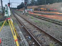 Contrôle des mouvements de rails lors d'un forage par la GEAT SPRL à Ottignies LLN